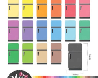 30 Colors Refrigerator Clipart - Instant Download