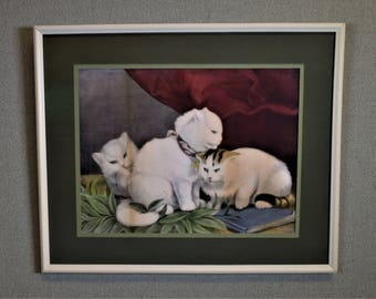 Picture White Kitties Playing Framed with Museum Glass
