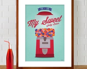 Vintage Candy Machine A3 print, Mid Century inspired Poster, Retro Nursery Art, Kitchen Art, 'My Sweet Jelly Bean' in cherri red and aqua