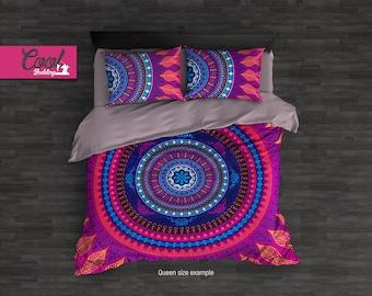 Hippie Mandala Bedding Set, Boho Chic Duvet Cover Set, Pink Mandala Bedding, Boho Bedroom Decor 31