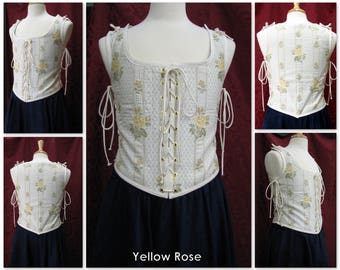Yellow Rose Brocade Maiden Bodice - Made to Order - whttap13 - Odd Bodkin