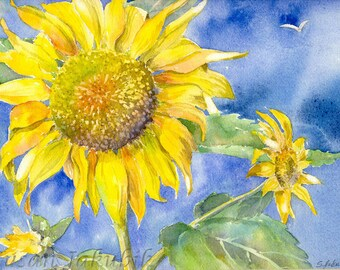Sunflower Watercolor, Sunflower Painting, Original Watercolor Painting
