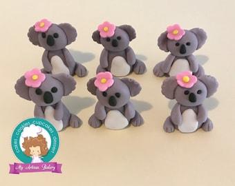 Koala fondant cupcake topper