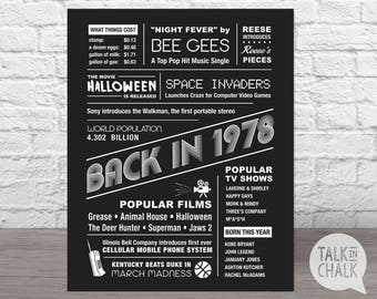 The Year 1978 - DIGITAL Chalkboard Poster - Printable Birthday Chalkboard Sign - Fun Facts 1978 - Back in 1978 - INSTANT DOWNLOAD