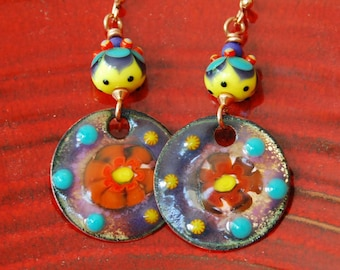 Bright Summer Earrings, Colorful Earrings, Enamel Earrings, Lampwork Bead Earrings, Boho Hippie Earrings, Flower Earrings, Large Earrings