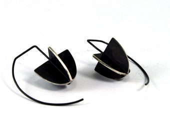 Geometric Sterling Silver Earrings, blackened silver, hook earrings, drop earrings, minimalist earrings,shield earrings, structural, unique