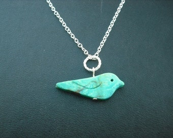 hand carved genuine turquoise bird necklace - white gold plated chain