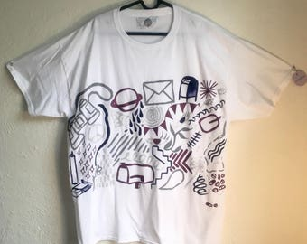 Painted White T-Shirt by Sam Pletcher 〰 Hand Painted One of a Kind Adult XL Shirt 〰 Glitter, Gray, Navy Blue and Purple