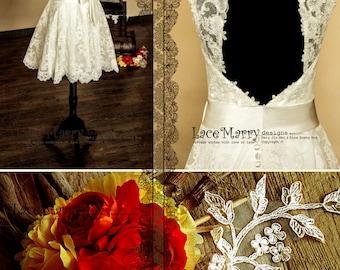 Knee Length Lace Wedding Dress, Short Wedding Dresses, Tea Length Wedding Dresses, Short A Line Wedding Dresses, Wedding Dress, 50s Style