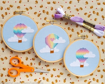 Hot Air Balloon Cross Stitch Pattern PDF | Set of 3 Pastel Balloons | Easy | Modern | Beginners Counted Cross Stitch | Instant Download