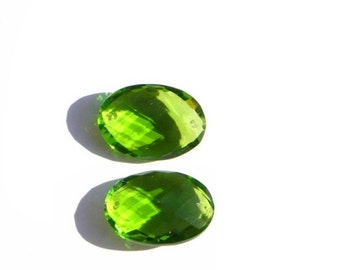 Matched Pair - 20x14mm AAA Peridot Green Quartz Faceted Oval Briolette Front to Back Drilled From The Top and Bottom