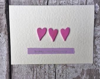 Anniversary greetings card with 3 pink foam hearts, greetings card for wedding anniversary, hand made card, romantic greetings card