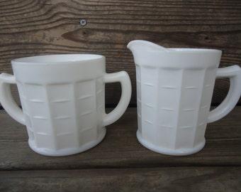Anchor Hocking Milk Glass Creamer and Sugar Set