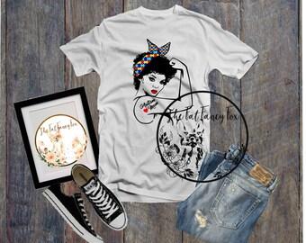 Autism Mom African American Rosie Riveter Shirt