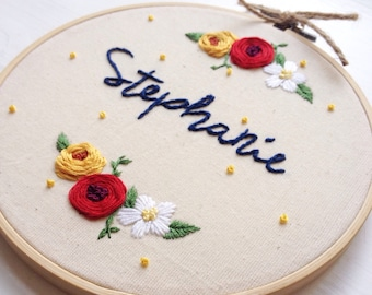 Custom embroidery with name