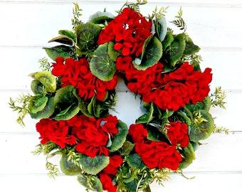 Summer Wreath-Summer Wedding Decor-Fall Wreath-RED GERANIUM Wreath-Wedding Wreath-Home Decor-Summer Wedding-Housewarming Wreath