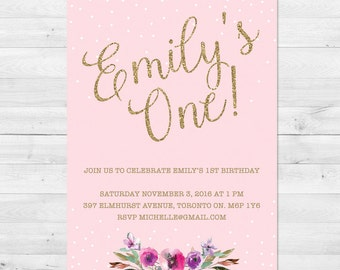 First Birthday Invitation Girl, Pink And Gold Birthday Invitation, Glitter, Sparkle, Blush And Gold, Floral, Watercolor, Confetti
