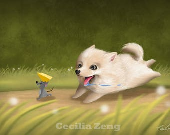 "Little Pomeranian ""Cookie"" by Cecilia Zeng"