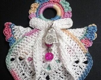 Crochet angel Christmas ornament-Variegated Pastels