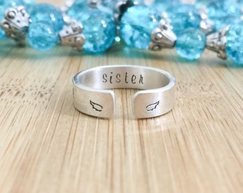 I carry you with me - Stamped Stacking Ring - Sterling Silver Ring - Stamped Silver Ring - Memorial Ring - Hand Stamped Ring - Angel Wing