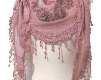 Triangle scarf,shawl or wrap with floral motifs and crochet lace trim - pink - CFOC490