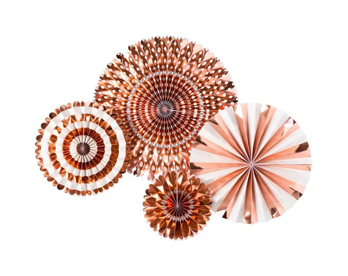 Rose Gold Party Fan, Rose Gold Decor, Rose Gold Pom Wheel, Rose Gold Rosettes, Rose Gold Paper Medallions, Rose Gold Pinwheel