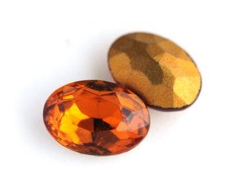 14x10mm Vintage Topaz Oval Glass Jewels Stones from Czechoslovakia, 14x10 Ovals, (H2-R4-C5), Quantity 2