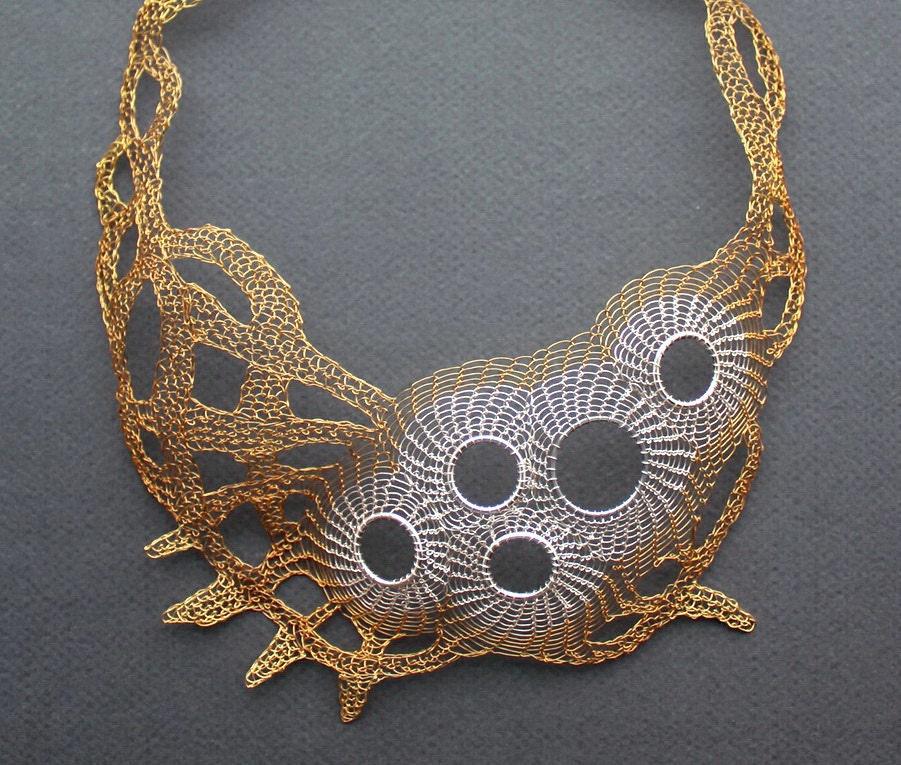 CALYPSO Silver and Brass Wire Crocheted Bib Necklace/Unique
