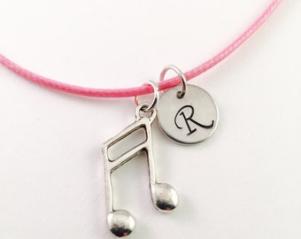 Personalized music note necklace, Personalized music necklace, Pink Cord necklace, little girl  Necklace, neck extends to 19""