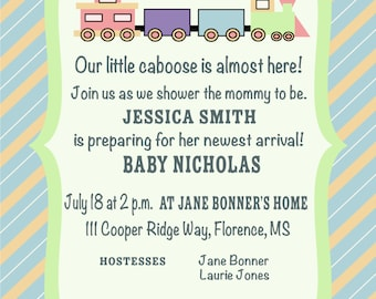 Our Little Caboose Baby Shower Invitation