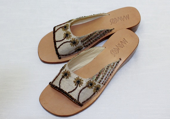 Sandal Boho Lovely 6 NOS Slide Worn Never Size Beaded Woman's Wow Vintage X88rqndH6w
