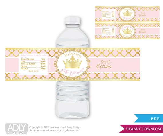 Gold Pink Princess Royal Baby Shower Water Bottle Wrappers