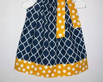 Pillowcase Dress Quatrefoil Dress Navy and Mustard Yellow Spring Dresses Girls Dresses Baby Girl Dress Navy and Gold Navy and Yellow