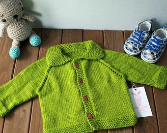 Hand Knit Baby Sweater Newborn - 3 Months, Ready to Ship
