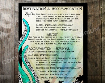 Nautical Beach Wedding Accommodation card  featuring an octopus tentacles waves and tropical island Digital Printable