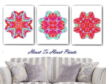 Red Wall Art Red Green Floral Art Prints Abstract Red Flowers Wall Decor Red Green Modern Home Decor Set of 3 Living Dining Room Bedroom Art
