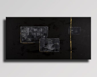 LARGE ABSTRACT PAINTING Black Gray Gold Painting Original Canvas Art Contemporary Abstract Modern Art 48x24 Wall Decor #01Bi1