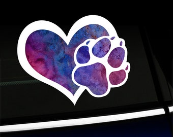 Watercolor Heart with Paw Print - Puppy Love Sticker