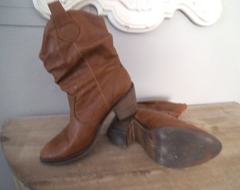 Vintage slouch Western Boots ~ Woman's Size 7 ~ Soft Caramel Brown ~