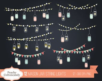 BUY 2 GET 1 FREE Mason Jar String Lights Clip Art