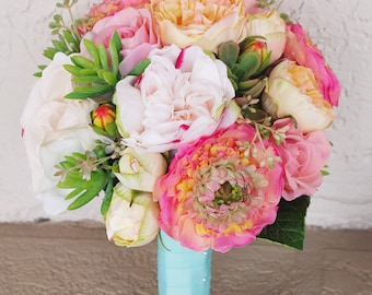 Bouquet of Silk Peonies, Ranunculus and Succulents Coral Peach Natural Touch Flower Wedding Bride Bouquet - Almost Fresh