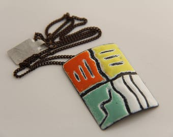 EN1044 - ENAMEL COPPER PENDANT, Enamel Pendant, Sgraffito Design, Copper, Vintaj Chain, Mother's Day Gift, Anniversary