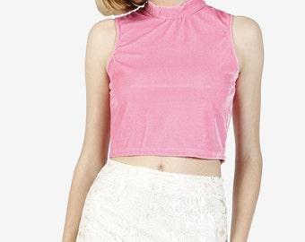 90s Deadstock Mock Neck Velvet Crop Top! ~ Pink or Magenta , Small, Medium, Large