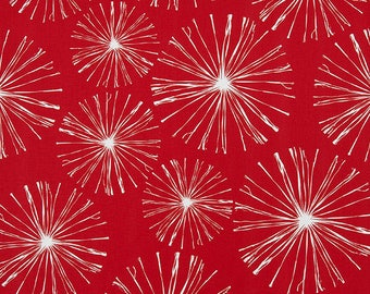 White on Bright Red Abstract Dandelion Puffs Cotton Fabric by the Yard Designer Red Drapery Upholstery Curtain Craft Home Decor Fabric M195