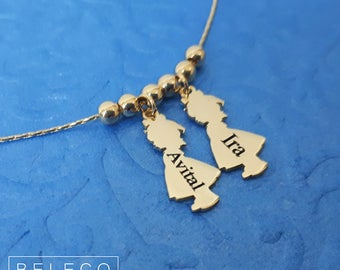 Children Names Necklace, Child Name Necklace, Kids Names Necklace, Children Charms Necklace, Boy Charm, Girl Charm, Children Custom Name Nac
