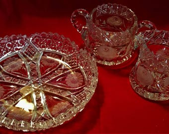 Bridal Shower, Wedding, Mothers Day, 24 dollars for All! Vintage 1940s, Cut-Glass, Rose, Sugar and Creamer, Sunflower, Bowl