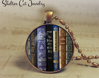"Science Fiction Book Necklace - 1-1/4"" Original Book Pendant or Key Ring - Sci Fi Jewelry - Geek, Librarian, Library, Teacher, Writer, Book"