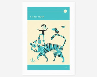 T is for TIGER (Giclée Fine Art Print/Photo Print/Poster Print) by Jazzberry Blue