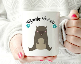 Bearly awake mug. funny mug. Disney Princess- Ceramic Mug