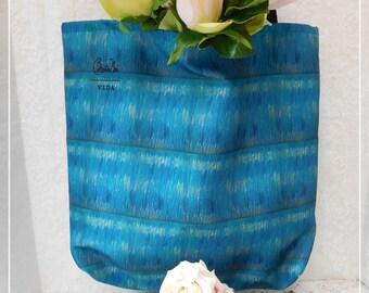 Dark Aqua and Navy Beach Tote Bag, Hand Painted Design, Large, Tote, Designer, Quality Sewn, 100% Polyester Fabric, Original Design, ECS